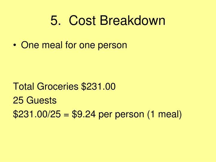 5.  Cost Breakdown