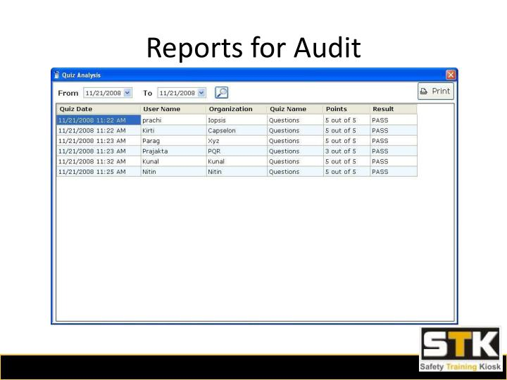 Reports for Audit
