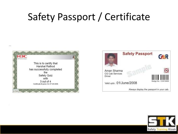 Safety Passport / Certificate