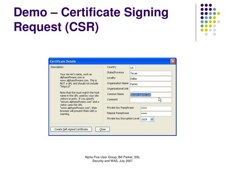 Demo – Certificate Signing Request (CSR)