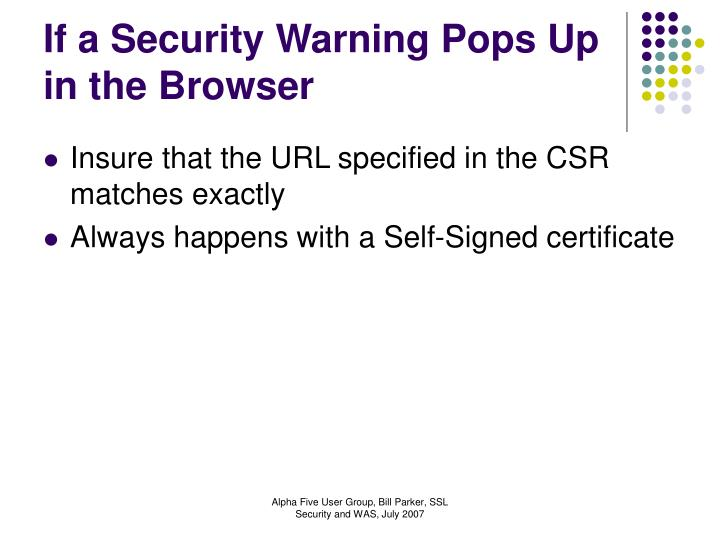 If a Security Warning Pops Up in the Browser