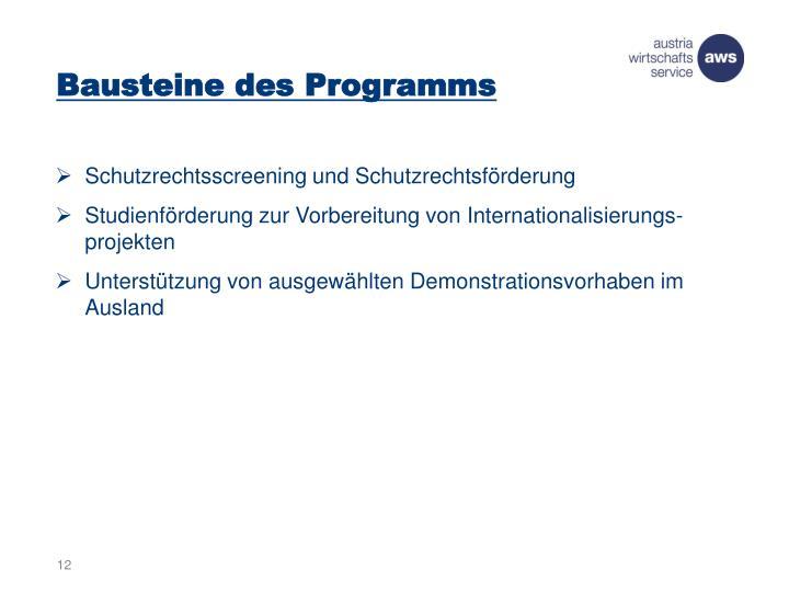 Bausteine des Programms