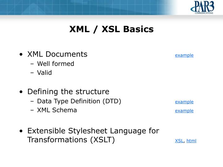 XML / XSL Basics