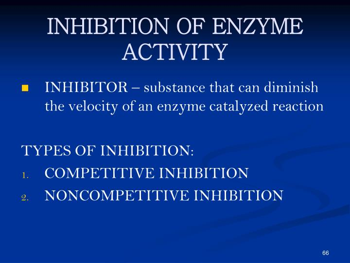 INHIBITION OF ENZYME ACTIVITY