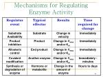 mechanisms for regulating enzyme activity