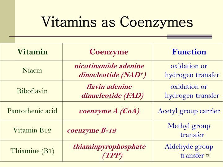 Vitamins as Coenzymes