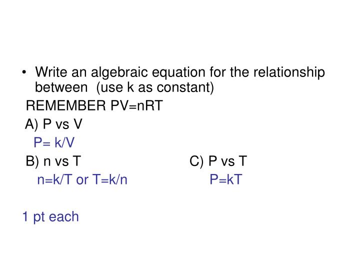 Write an algebraic equation for the relationship between  (use k as constant)