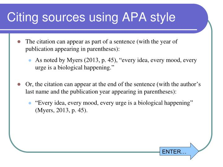 Citing sources using APA style