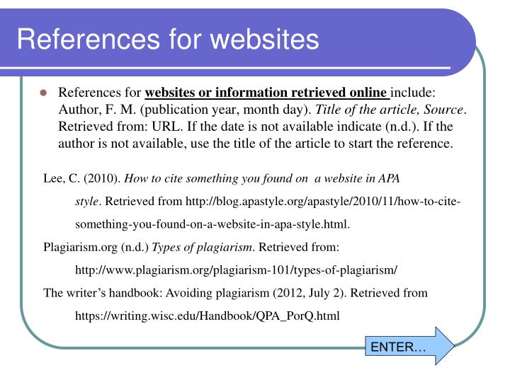 References for websites