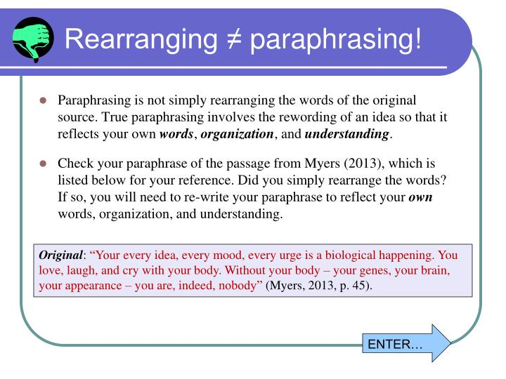 Rearranging ≠