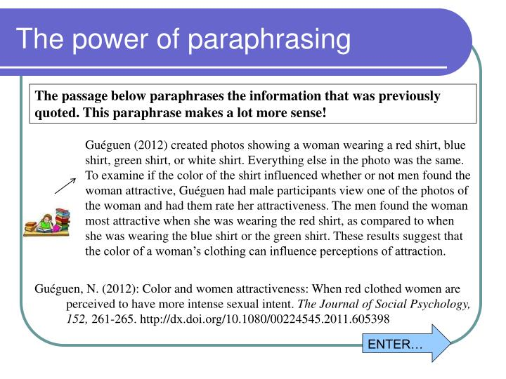 The power of paraphrasing