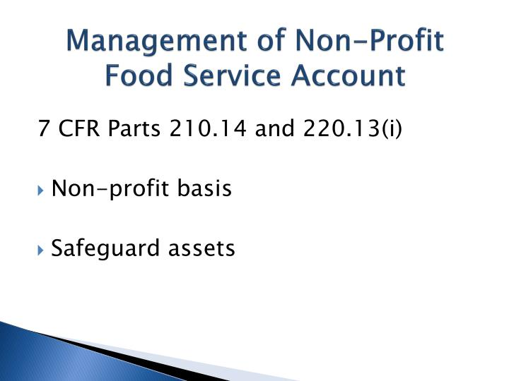 Management of non profit food service account