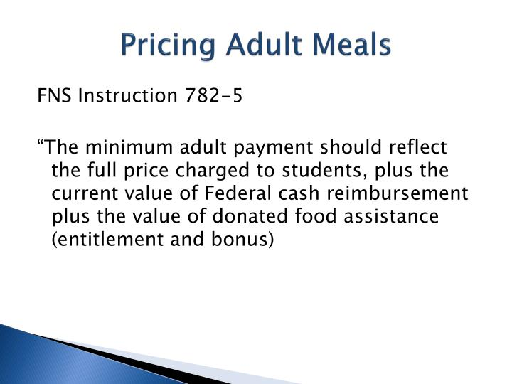 Pricing Adult Meals