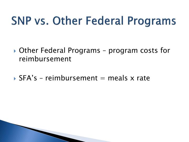 SNP vs. Other Federal Programs