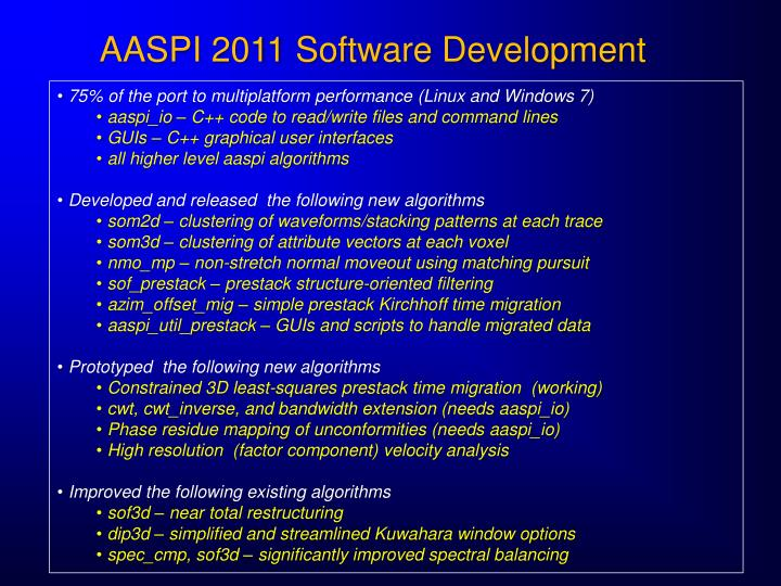 AASPI 2011 Software Development