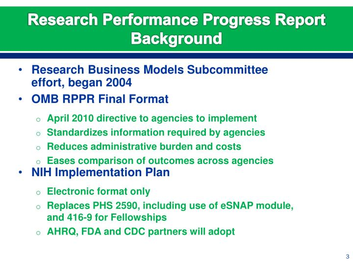 Research performance progress report background