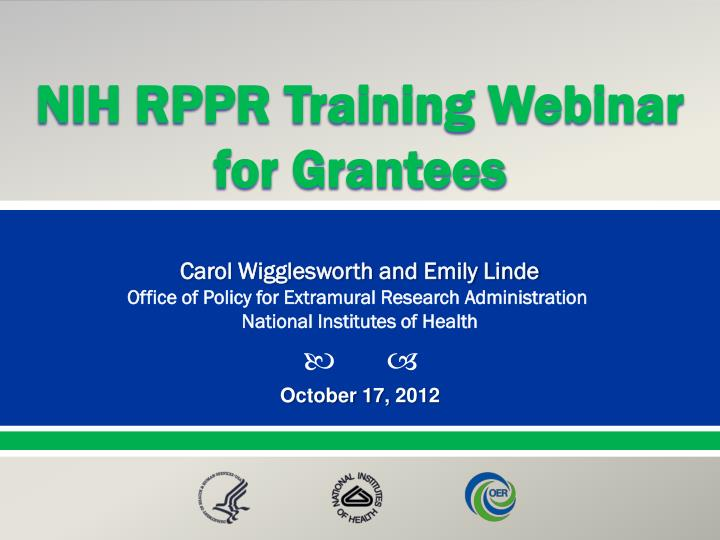 NIH RPPR Training Webinar for Grantees
