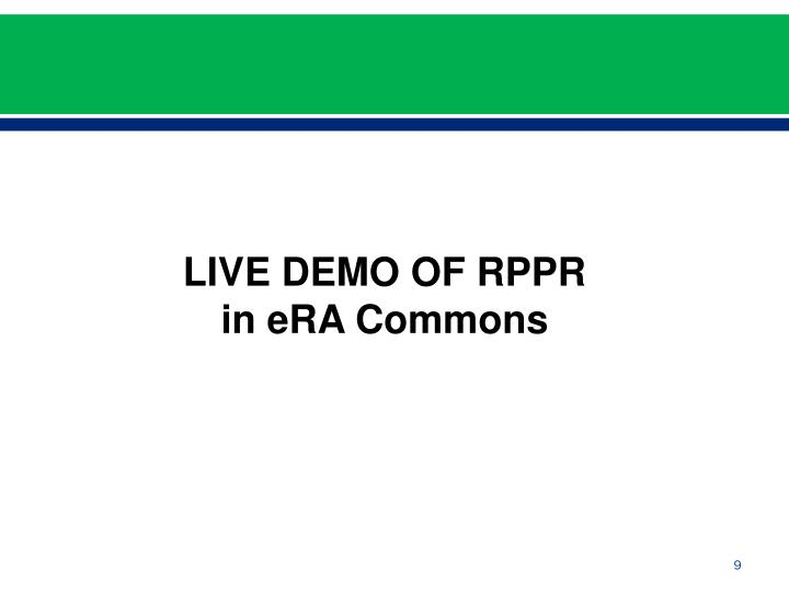 LIVE DEMO OF RPPR in eRA Commons