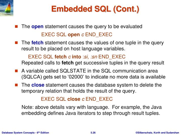 Embedded SQL (Cont.)