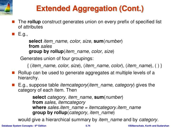 Extended Aggregation (Cont.)