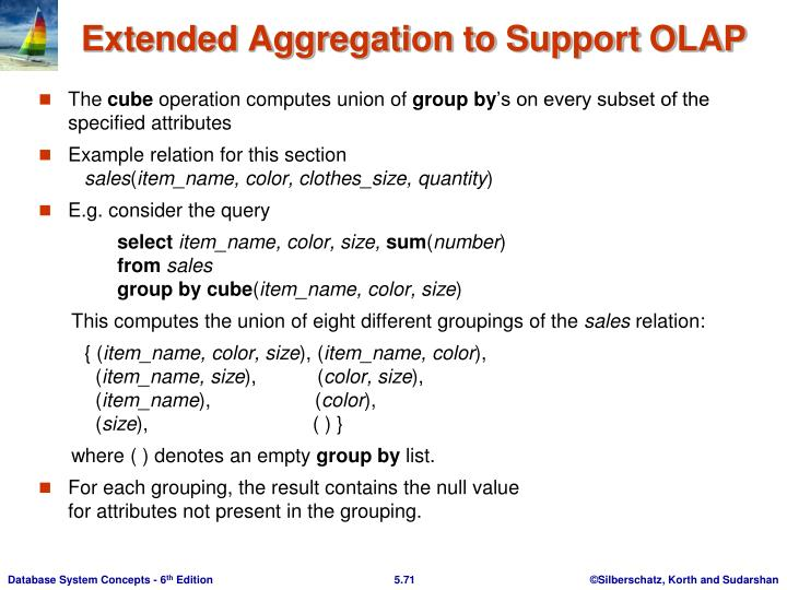 Extended Aggregation to Support OLAP
