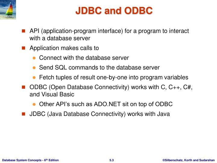 JDBC and ODBC