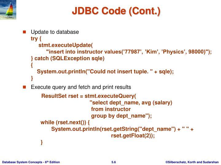 JDBC Code (Cont.)