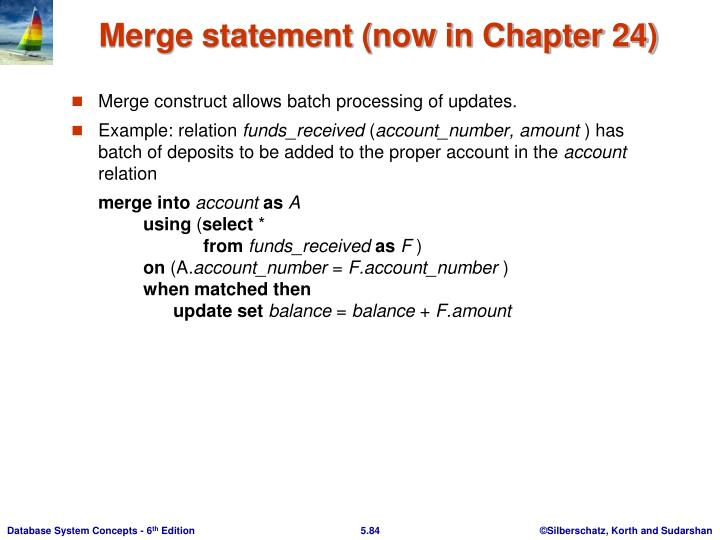 Merge statement (now in Chapter 24)