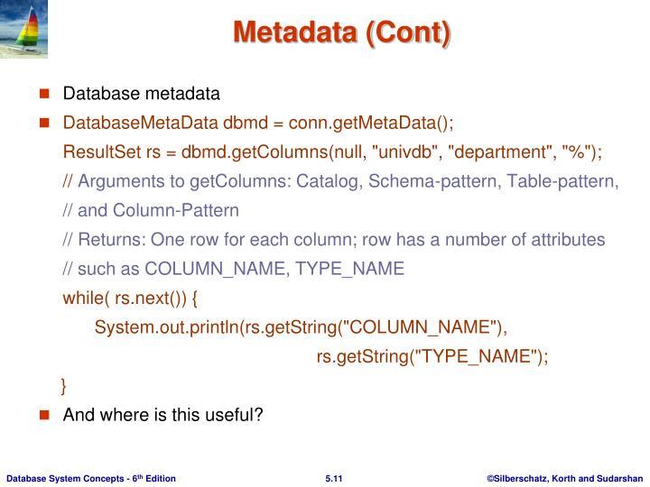Metadata (Cont)
