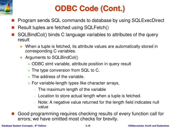 ODBC Code (Cont.)