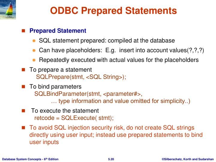 ODBC Prepared Statements