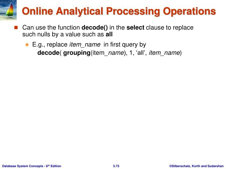 Online Analytical Processing Operations