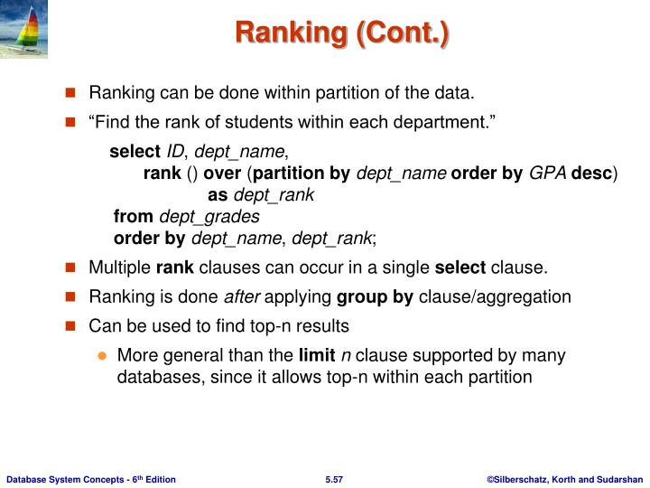 Ranking (Cont.)
