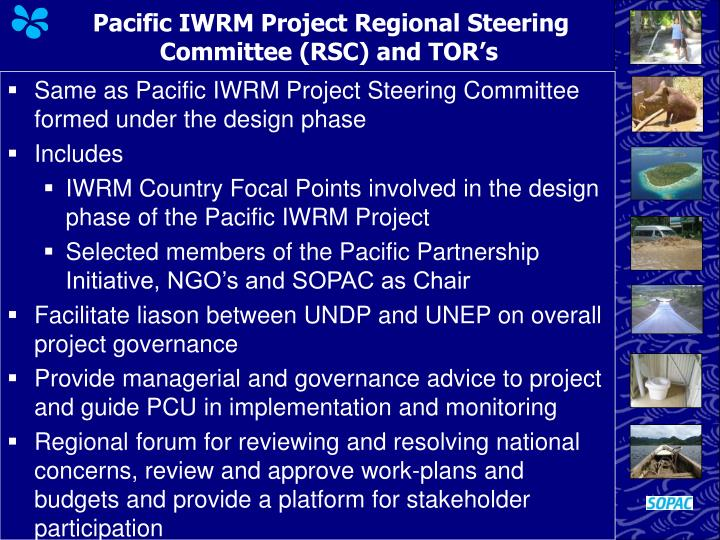 Pacific IWRM Project Regional Steering Committee (RSC) and TOR's