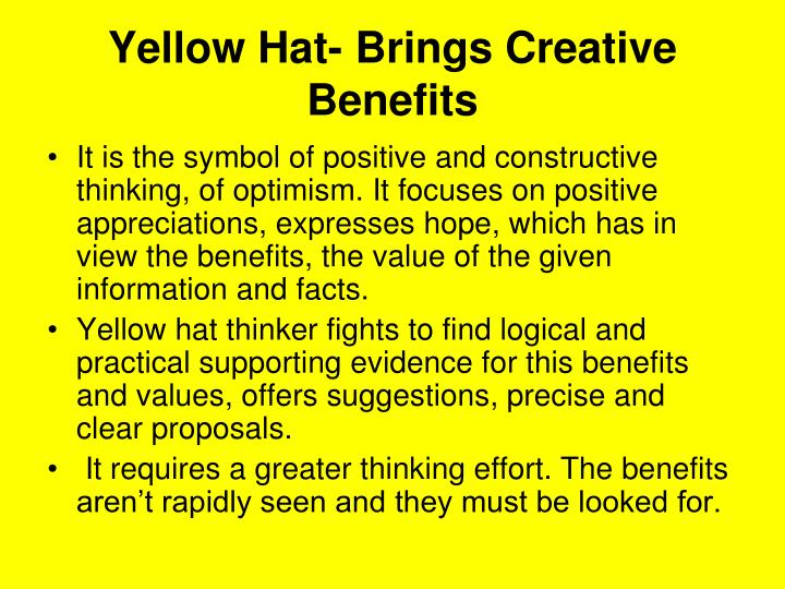 Yellow Hat- Brings Creative Benefits