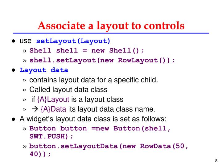 Associate a layout to controls