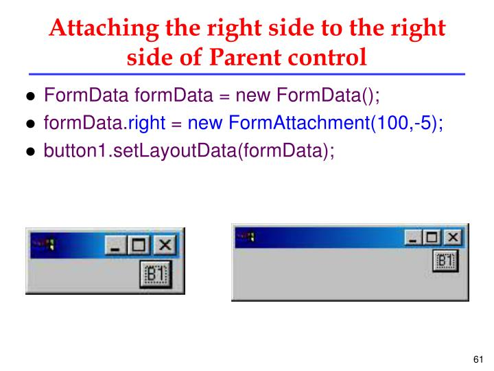 Attaching the right side to the right side of Parent control