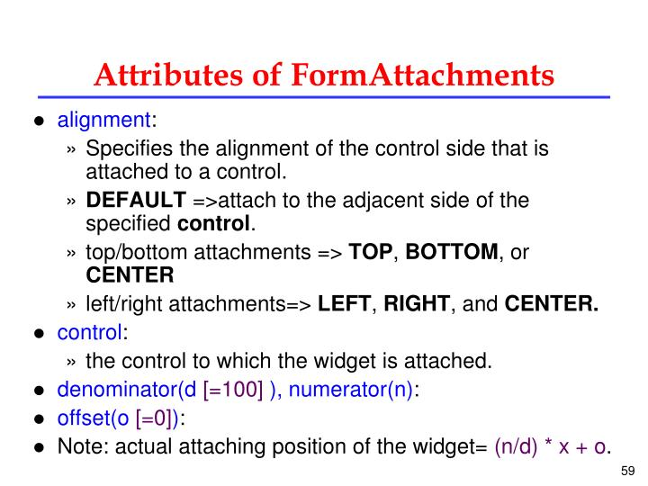 Attributes of FormAttachments