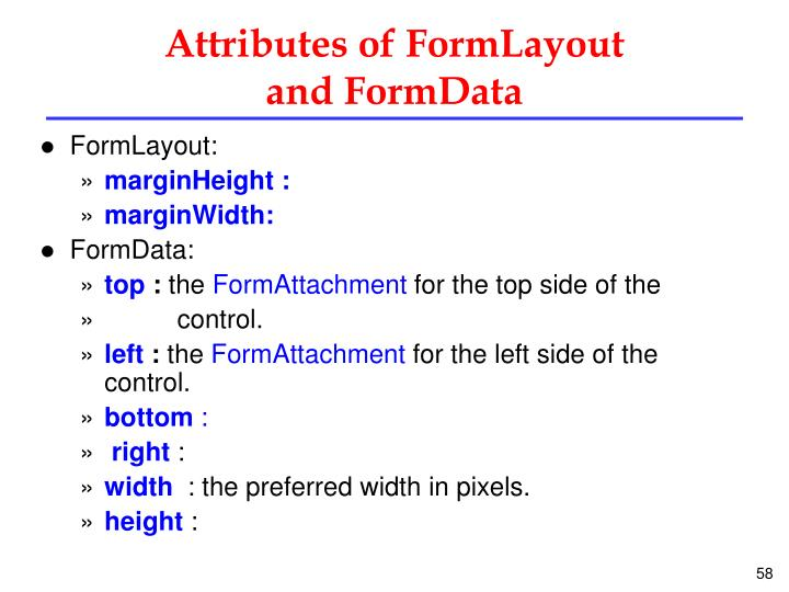 Attributes of FormLayout