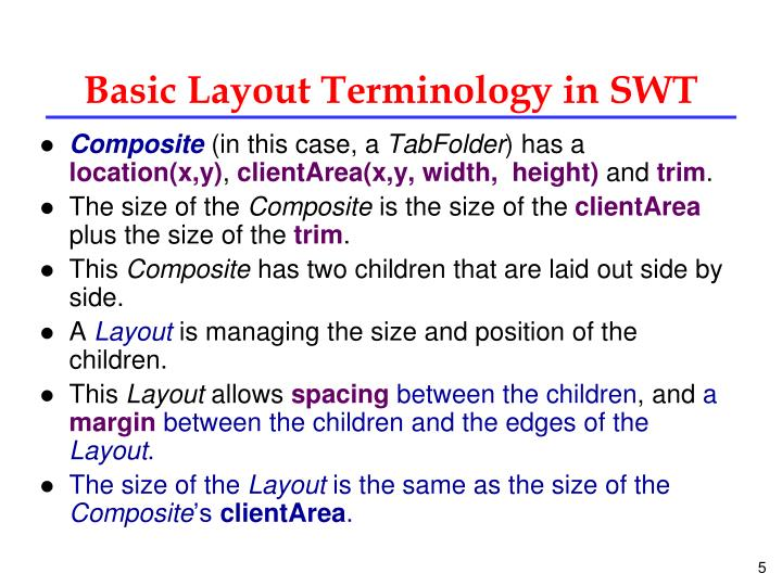 Basic Layout Terminology in SWT