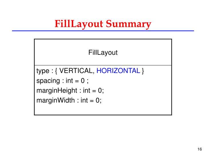 FillLayout Summary