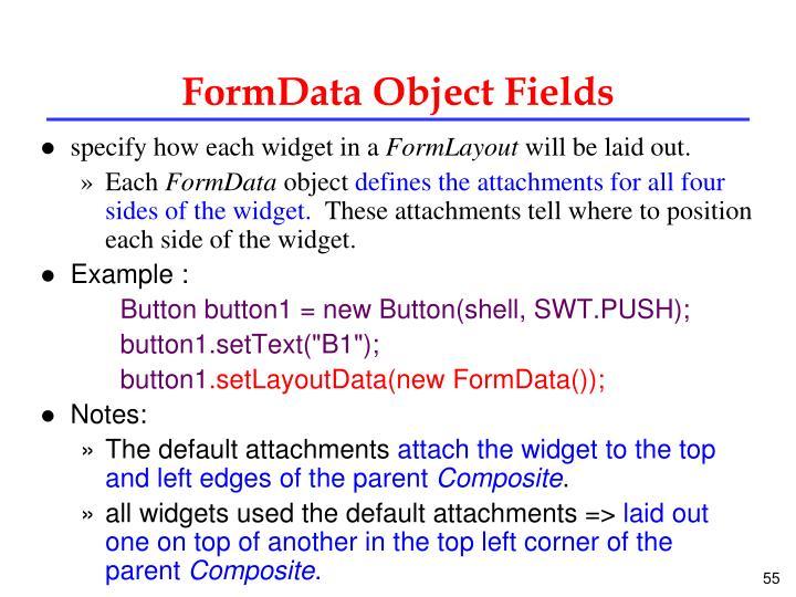FormData Object Fields