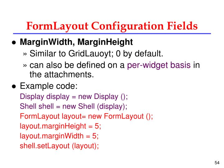 FormLayout Configuration Fields