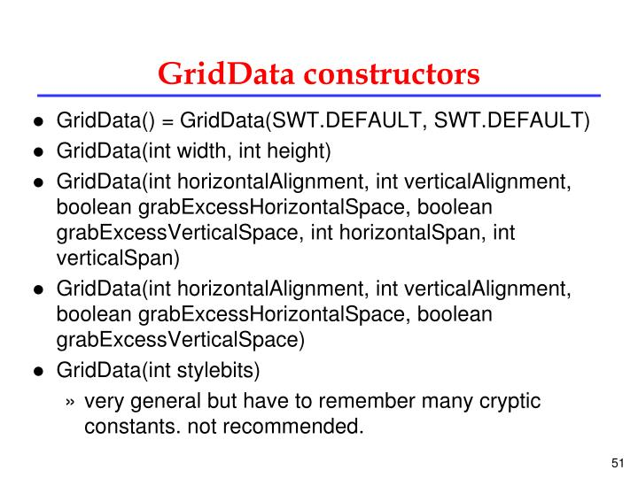 GridData constructors