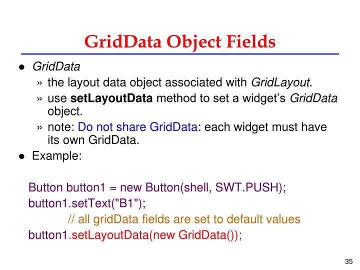 GridData Object Fields