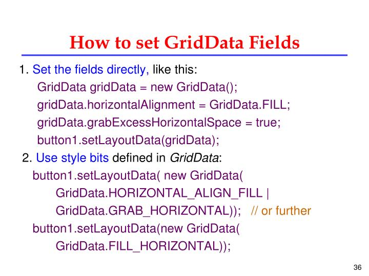 How to set GridData Fields