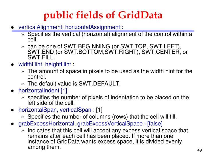 public fields of GridData