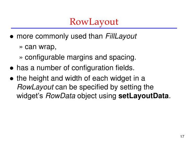 RowLayout