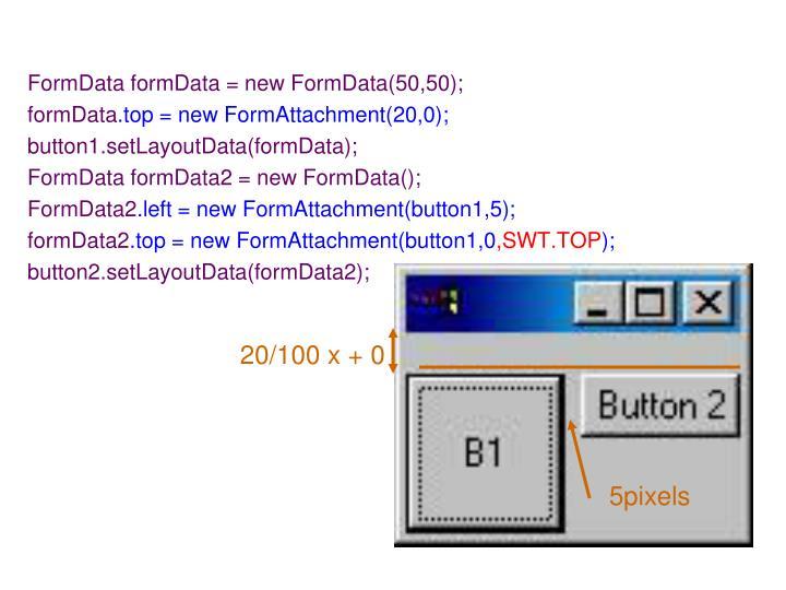 FormData formData = new FormData(50,50);