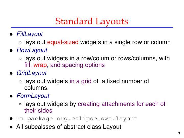 Standard Layouts